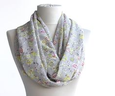 Spring loop scarf floral scarf grey infinity by violasboutique, $15.00