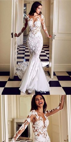 Mermaid V-neck White Lace Wedding Dresses.Cheap Wedding Dresses 1eac0b978