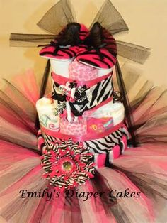 Diaper Cakes By Emily Hot Pink And Zebra Tutu Cake
