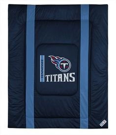 "NFL Comforter - Queen Size - Tennessee Titans (Navy/Titans Blue/White/Red/Silver) (1""H x 86""W x 86""D)"