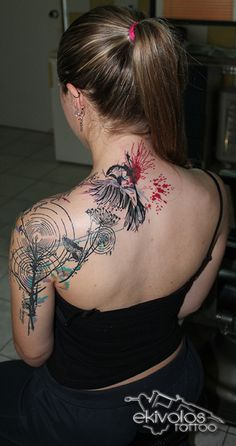 geometric water color flower swallow tattoo artist @georgetsiros ...ekivolos tattoo studio