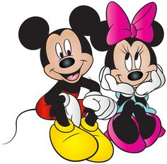 Mickey and Minnie Mouse Free PNG Clip Art Image