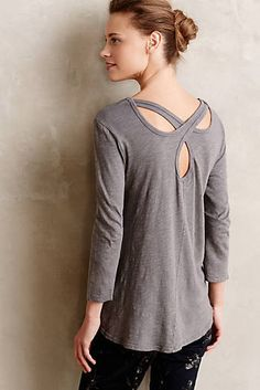 Cutwork Tee - Anthropologie - I love details like this. Simple Outfits, Casual Outfits, Bluse Outfit, Anthropologie Clothing, Basic Tees, Casual Shirts, Cutwork, Clothes For Women, My Style