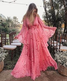 Women's Casual Deep V-Neck Chiffon Printed Color Loose Dress – Cashvivi Satin Dresses, Prom Dresses, Dresses With Sleeves, Gowns, Types Of Sleeves, Pregnancy Outfits, The Dress, Dream Dress, Beautiful Dresses