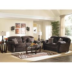 Woodhaven Ultra Plush II Living Room Collection includes: sofa, ottoman, coffee table, 2 End tables, 2 Lamps, and Mohawk rug.