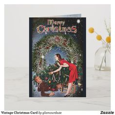 Shop Vintage Christmas Card created by glamourdaze. Vintage Christmas Cards, Holiday Cards, Christmas Shopping, Vintage Shops, Paper Texture, Merry, Seasons, Create, Prints