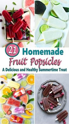 If you're looking for a refreshing sweet frozen treat on a hot summer day or just looking for a healthy snack, then these homemade fruit popsicles are a perfect idea. There are popsicle recipes for kids and adults too and what's greate about making your own treats at home is that you can control the amount of sugar which is always a good thing and can be made with fresh or canned fruit. yogurt popsicles | rainbow popsicles | watermelon popsicles | melon popsicles #recipe #popsicle Blueberry Yogurt Popsicles, Homemade Fruit Popsicles, Watermelon Popsicles, Healthy Popsicles, Fruit Yogurt, Healthy Yogurt, Healthy Snacks, Popsicle Recipe For Kids, Popsicle Recipes