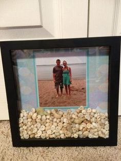 Lake themed Shadow Box! I got a whole ton of these when they were on sale at Crafts Direct! We grabbed some shells off the beach to add into the frame!