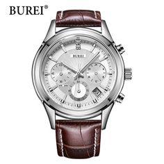 BUREI Hommes Montres Top Marque De Mode Bracelet En Cuir Argent Lentille Mâle Horloge Étanche Multifonction Quartz Montres Vente Chaude
