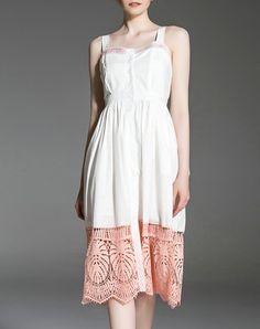 White A-line Elegant Midi Dress