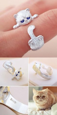 Crystal Blue Eyes Cat As the Circulai Ring Cat Around Finger Silver Open Ring Crystal Blue Eyes, Gifts For Women, Gifts For Her, Animal Rings, Open Ring, Cute Rings, Retro Color, Ring Ring, Fashion Rings