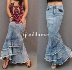 Top Womens Slim Bodycon Fishtail Dress Skirt Maxi Long Denim Skirt Ruffle Layers