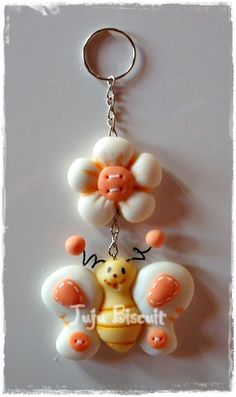 Peach & white #polymer #clay daisy & #butterfly charm