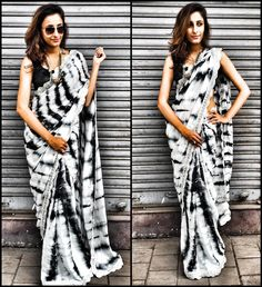 white tie and dye saree by House of 2 | Designer Sarees | Indiebazaar