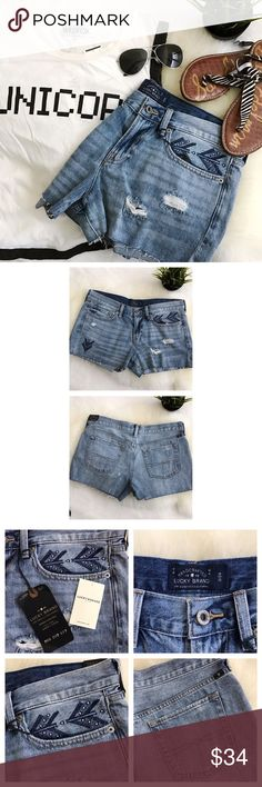 """Lucky Brand The Cut off denim shorts NWT 29 NWT no flaws. NOTE: there are a few small bleach spots on the back These are from manufacturing and are not considered flaws 100% cotton, no stretch Very cool embroidery details Waist about 16 1/2"""" Hip 19"""" Inseam 2 1/2"""" Wildfox tank & Sam EDELMAN Sandals avl in separate listings  🚫trades 🚫modeling requests  👍🏻Reasonable offers welcome! Lucky Brand Shorts Jean Shorts"""