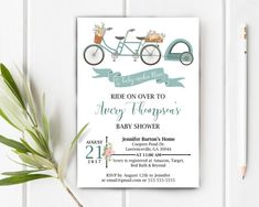 Bicycle Baby Shower Invitation.  Shabby Chic Baby Shower.   Ride On Over.