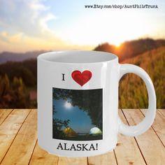 I Love Alaska Tenting in Moonlight Mug Alaska Gift Mug | Etsy