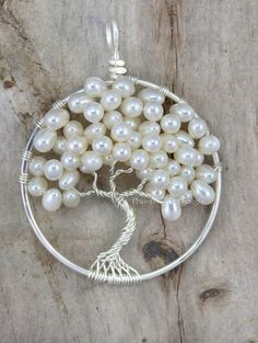 Árbol de boda árbol de la vida colgante perla agua dulce de la boda joyería de Dama regalo Idea alambre envuelto bodas Woodland nupciales marfil RTS