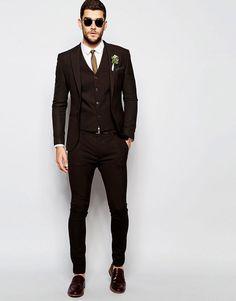 Модные Коричневые Смокинги Groom Жениха Мужские Свадебные Костюмы Пром Жених (Куртка + Брюки + Жилет + Галстук)