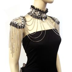 Black or White Crystal Rhinestone Choker w Shoulder Swags Burlesque Costume | eBay