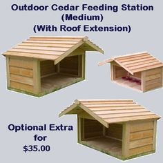 Cat Food Station Outdoor Cedar Feeding Station with Roof Extension - Large - Outside Cat Shelter, Outside Cat House, Feral Cat Shelter, Feral Cat House, Outdoor Cat Shelter, Cats Outside, Outdoor Cats, Feral Cats, Cat Shelters
