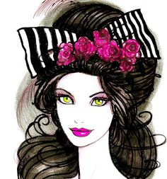 Girl and bow - Dibujo ©2014 por Pilar Agrelo -                                                                                                                                    Ilustración, Art Deco, Arte figurativo, Arte Pop, Papel, Mujeres, Dibujos animados, Moda, Personas, fashion illustration, Gothic sweet, pink, fashion art, drawings, fashion design, faces, girls, sketchs fashion, fashion drawing