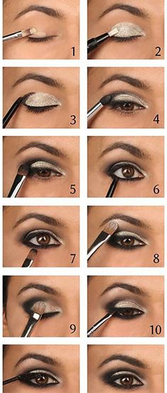Did you ever try any of these smokey eye makeup looks? Now, It's not hard to get beautiful smokey eyes if you read these 10 smokey eye makeup tutorials. Smokey Eye Makeup Tutorial, Eye Makeup Steps, Eye Tutorial, Black Makeup Tutorial, Black Smokey Eye Makeup, Silver Smokey Eye, Black And Silver Eye Makeup, Smoke Eye Makeup, White Eyeliner