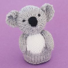Koala Toy Knitting Pattern by Jelly Bums - comes with instructions to make a toy with 3 leg options, finger puppet and egg cosy. Available from https://www.etsy.com/shop/Jellybum