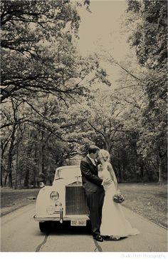 Vintage Rolls Royce wedding photography.