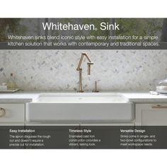 Kohler K-6486-0 Whitehaven White Apron Front Single Bowl Kitchen Sinks |eFaucets.com