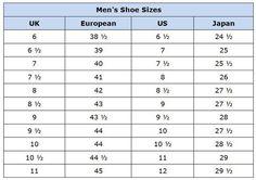 c838d8c700 Clothing Size Conversion Charts  Men s Shoes Sizes Shoe Chart