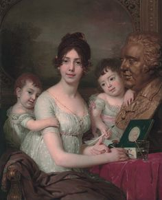 "history-of-fashion: Vladimir Borovikovsky - Portrait of Countess Liubov Kusheleva, née Bezborodko with children Aleksandr and Grigorii "" Jane Austen, Female Portrait, Portrait Art, Couple Painting, All In The Family, Empire Style, Cool Paintings, Classic Paintings, Poses"