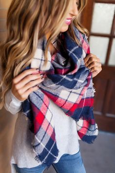 Plaid Blanket Scarf- Navy/Red - Dottie Couture Boutique