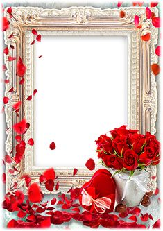 Red hearts and red roses Valentine Day Photo Frame, Birthday Photo Frame, Happy Birthday Frame, Happy Birthday Photos, Birthday Frames, Happy Marriage Anniversary Cake, Wedding Anniversary Photos, Happy Anniversary Cards, Picture Frame Decor