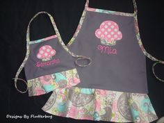 "MATCHING PERSONALIZED Girls and 18"" Doll Apron Set- Childs Play Apron -Cooking Apron- Gray, Pink and Blue with Cupcake Design by Designsbyflutterbug on Etsy"