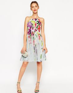 Image 4 ofASOS PETITE Floral Mesh Insert Fit And Flare Pinny Mini Dress