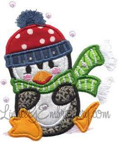 Penguin sitting on Ice with fringed cap pompom and scarf - applique machine embroidery design