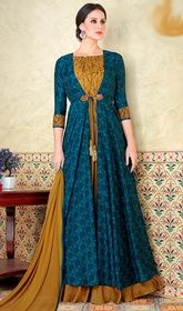Blue & Gold Traditional Look Party Wear Jacket Style Floor Length Salwar Suit Anarkali Dress, Anarkali Suits, Lehenga, Long Anarkali, Party Wear Dresses, Casual Dresses, Party Dress, Simple Dresses, Kurta Designs