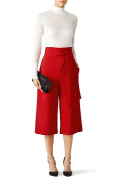 Red Belted Culottes by Tibi for $75 | Rent the Runway