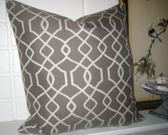 Grey and cream Trellis  20 inch accent pillow toss pillow designer pillow on Etsy, $32.00