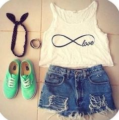 Infinity Shirt, High- Waisted Shorts, Tie Headband, Mint Vans, and Cute Braclet