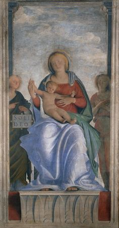 Bramantino (Bartolomeo Suardi), (1508 - 1520) - Madonna con il Bambino e due angeli, Affresco Staccato, Trasportato su Tela.