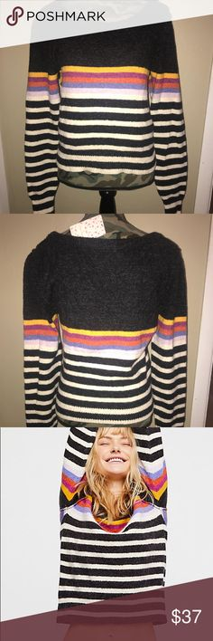 Free People Complete Me Pullover The One with the Free People Colorful Stripe Sweater. This pullover is brand new with tags and can make any outfit pop . Pair it with skinny jeans or a denim skirt with cute booties. Made of cotton, nylon, alpaca and spandex. Free People Sweaters Crew & Scoop Necks