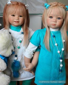 Бирюзовое настроение. Линхен и Гретхен от Annette Himstedt (Linchen, Gretchen) / Коллекционные куклы Annette Himstedt / Бэйбики. Куклы фото. Одежда для кукол