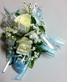 Light blue and white corsage