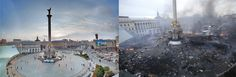 Ukraine - Independent square, before & after protests/riots