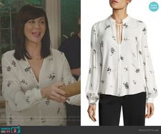 Ty Lantern Sleeve Floral-Print Silk Blouse by ALC worn by Cassandra Nightingale (Catherine Bell) on Good Witch Witch Dress, Witch Outfit, I Dress, Catherine Bell, The Good Witch, Witch Fashion, Daily Dress, Classic Chic, Floral Blouse