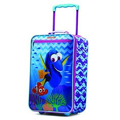 "American Tourister Disney Finding Dory 18"" Upright Softside  Printed polyester with vinyl front  In-line skate wheels for easy mobility  Easy pull handle  Large mesh pocket on interior panel  18x12x7"