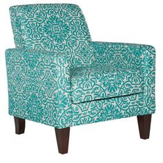 This turquoise blue arm chair adds an element of style to your living room or bedroom. Featuring durable polyester-blend damask fabric upholstery and hardwood legs and frame, this modern arm chair is Damask Living Rooms, Bohemian Living Rooms, Living Room Seating, Living Room Chairs, Living Room Furniture, Apartment Furniture, Living Area, Dining Chairs, Turquoise Accent Chair