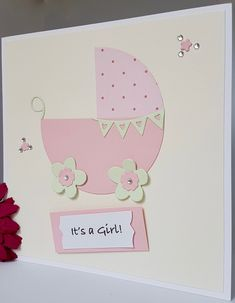Personalised It's a Girl Boy New Baby Arrival New Born Christening Shower Card Pram Buggy Pink Blue Handmade NB20 by BrightCraftBySharon on Etsy